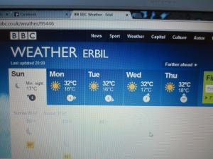Same old, same old. Erbil weather is not the most exciting
