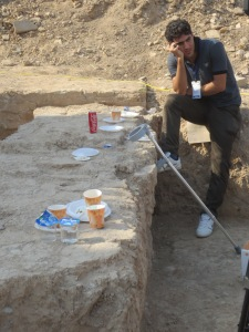 Media mess: A late medieval wall proves to be the perfect buffet table