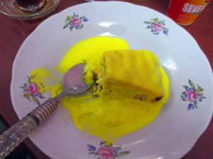 Iraqi orange flavour custard has a half life of 10,000 years