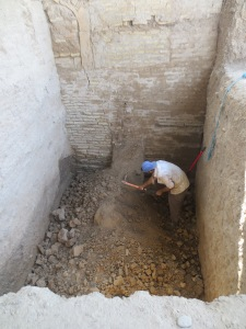 More or less my first archaeological action this season was the satisfying destruction of a nice big wall