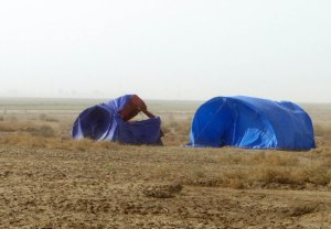 The wind taking the top off our site tent. This made F happy as we no longer made her go outside to smoke
